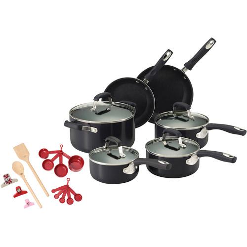 Guy Fieri 24-Piece Non-Stick Aluminum Cookware Set, Black