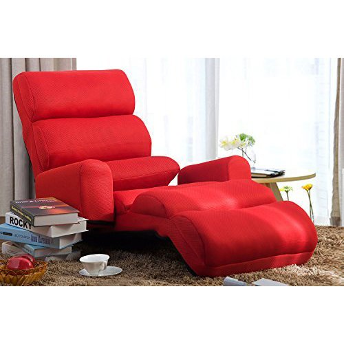 Merax Foldable Floor Cushion Lounge Chair/Bed With Pillow, Red