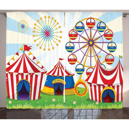 Ferris Wheel Curtains 2 Panels Set, Illustration of a Carnival with Striped Tents Ring of Fire Starbursts Pattern, Window Drapes for Living Room Bedroom, 108W X 96L Inches, Multicolor, by Ambesonne ()