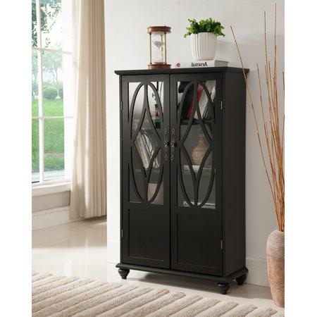 black wood curio bookcase display storage cabinet with glass sliding doors. Black Bedroom Furniture Sets. Home Design Ideas