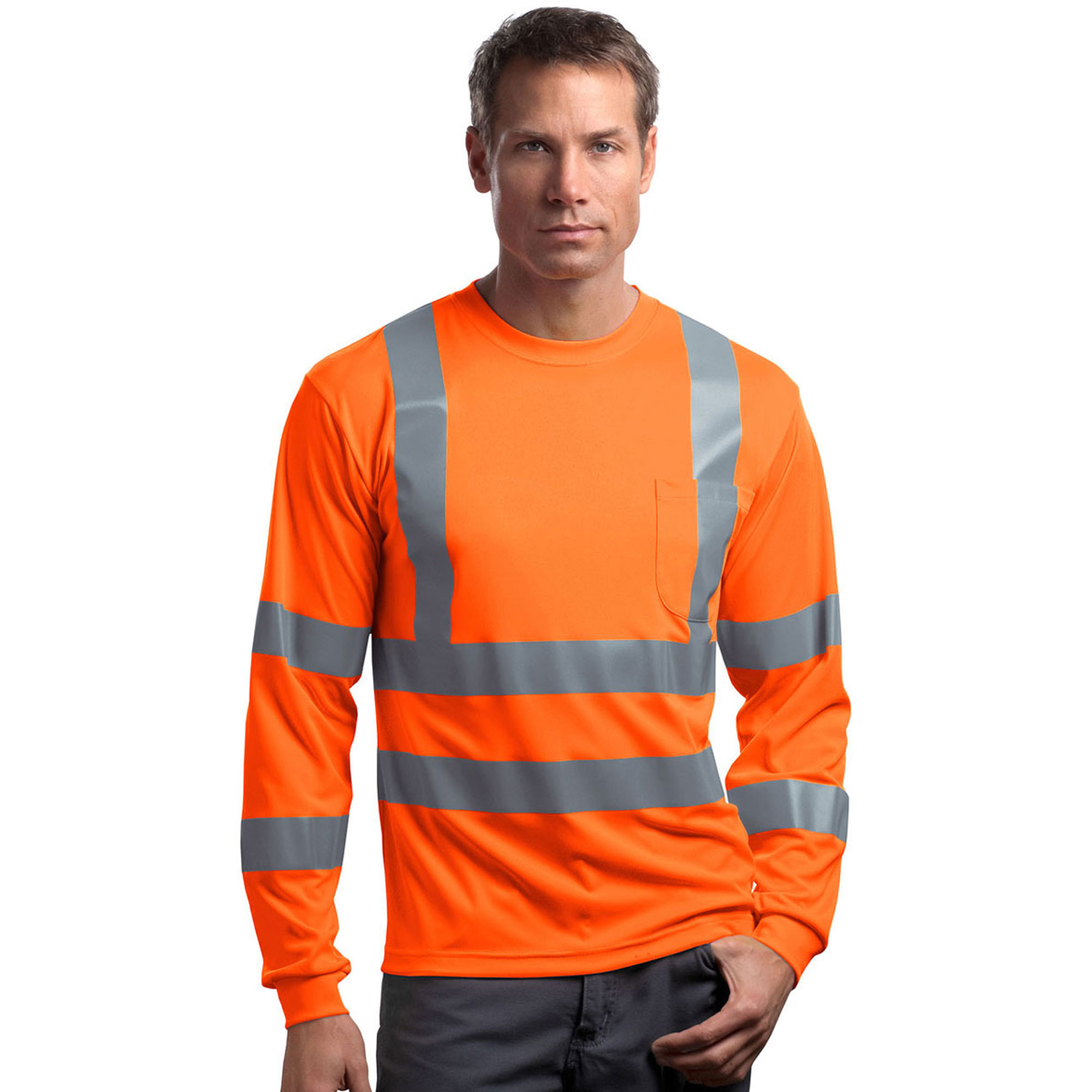 Cornerstone Men's Long Sleeve Reflective Crewneck T-Shirt