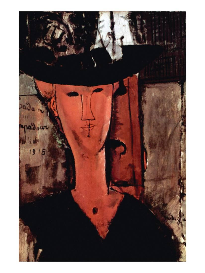Lady with Hat Art Print By Amedeo Modigliani by Art.com