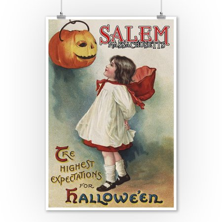 Salem, Massachusetts - Halloween Greeting - Girl in Red and White - Vintage Artwork (9x12 Art Print, Wall Decor Travel Poster) - Salem Massachusetts Halloween Time