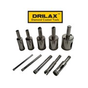 Drilax 10 Pcs Diamond Drill Bit Set 5/32 inch 3/16 inch 1/4 inch 5/16 inch 3/8 inch 1/2 inch 5/8 inch 3/4 inch 7/8 inch 1 inch  In Inch Tiles, Glass, Fish Tanks, Marble, Granite