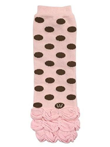 ALLYDREW Stripes, Polka Dots & Chevron Baby Leg Warmer & Toddler Leg Warmer for Boys & Girls, Pink Polka Dots & Ruffle Bottom