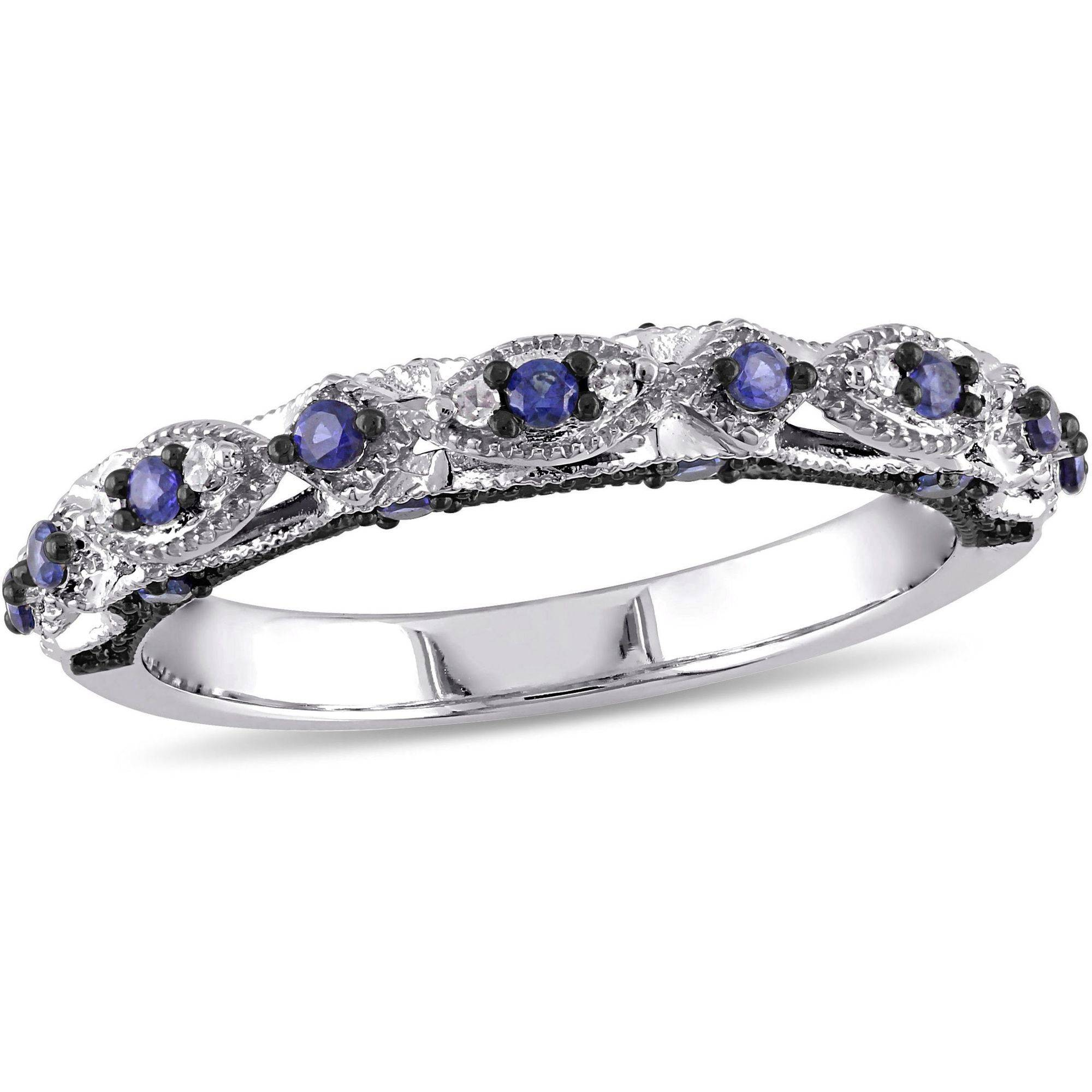 Tangelo 1/3 Carat T.G.W. Created Blue Sapphire and Diamond-Accent 10kt White Gold Vintage Miligrain Design Wedding Band