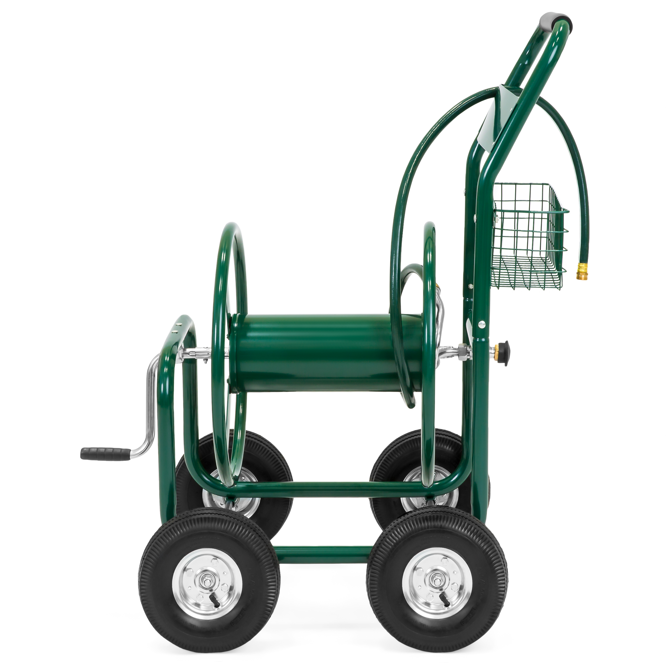 best choice products 300ft water hose reel cart w basket for outdoor garden heavy duty yard water planting green walmartcom - Garden Hose Reel Cart