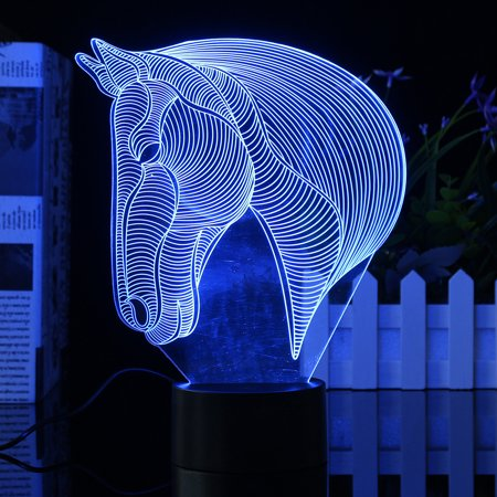 3D Acrylic LED Night Light Horse Head Desk Table Lamp 7 Color Change  Bedroom led Home Decor Christmas Gifts