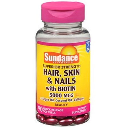 Sundance Hair, Skin & Nails with Biotin 5000 mcg Dietary Supplement,  90