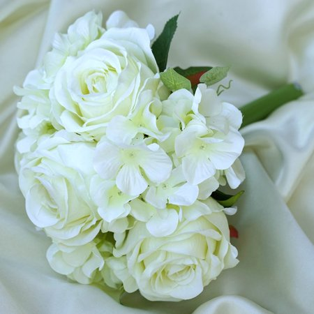Efavormart 4 Bouquets of Realistic Artificial Rose/ Hydrangea Flower for DIY Wedding Bouquets Centerpieces Party Home Decorations