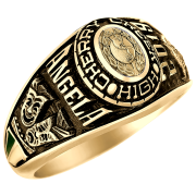 Keepsake Personalized Women's Oval Class Ring available in Valadium Metals,  Silver Plus and Yellow and White Gold