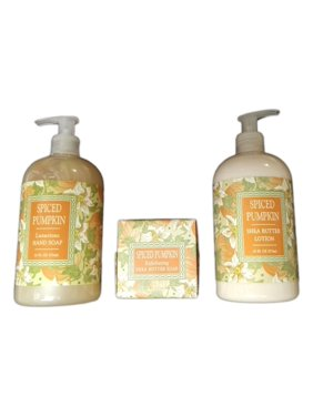 Set of 3 SPICED PUMPKIN Bath Products: Soap, Lotion, & Hand Soap, Greenwich Bay
