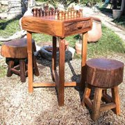 Hill Country Small Chess Table & 2 18 in. Stump Seat Set