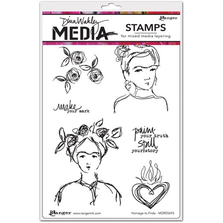 Dina Wakley Media Cling Stamps 6 X9  Homage To Frida