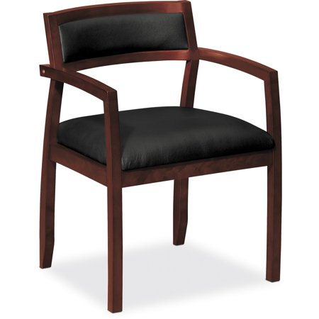 basyx VL850 Series Wood Guest Reception Waiting Room Chair w/Black Leather Seat/Upholstered Back, Mahogany (Screen Back Guest Chair)