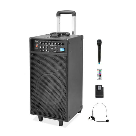 PYLE PWMA1090UI - Wireless & Portable PA Speaker System Kit with Built-in Rechargeable Battery, FM Radio (Wireless Handheld Mic, Headset Lavalier Mic, Remote Control) 800
