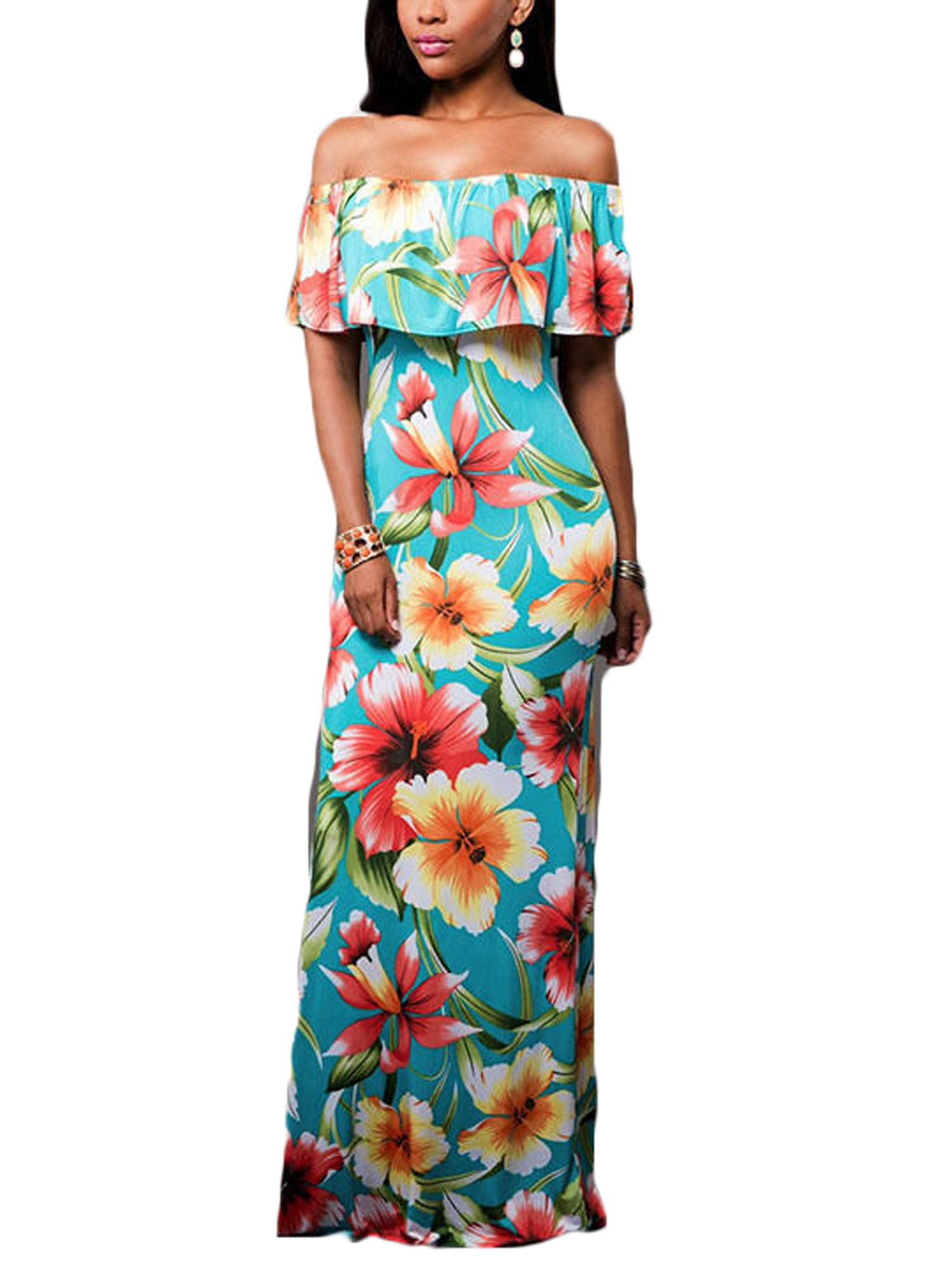 Women Floral Boho Dress Womens Off The Shoulder Boho Lady Sundrss Maxi Summer Party Beach