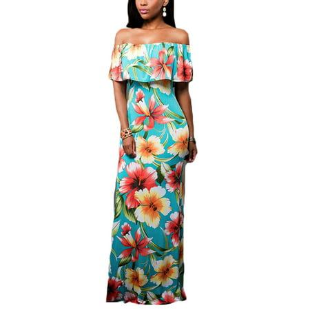 Hawaiian Dress Code For Parties (Women Boho Floral Off Shoulder Maxi Dress Cocktail Party Summer Beach Sundress Flower)