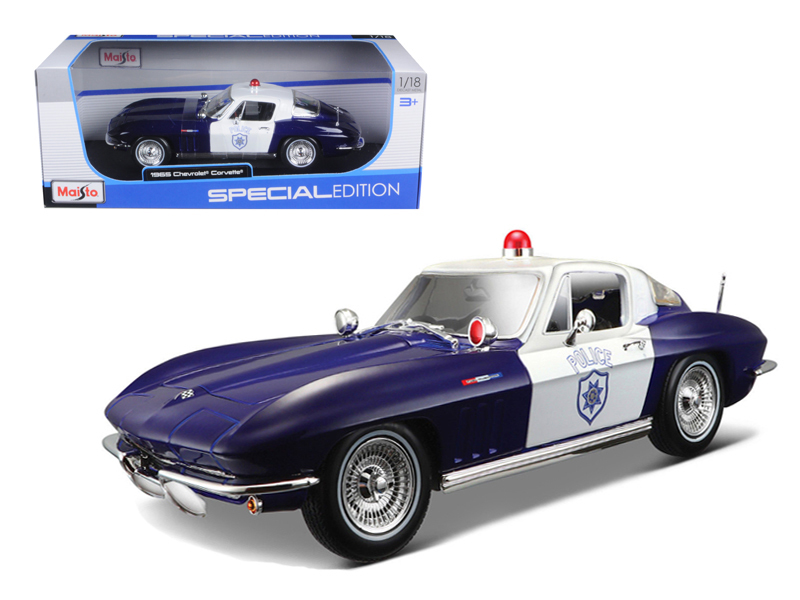1965 Chevrolet Corvette Blue and White Police 1 18 Diecast Model Car by Maisto by Diecast Dropshipper