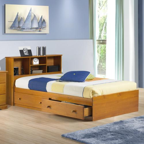 Kansas Twin Size Platform Storage Bed Java