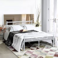 Teraves Queen Size Metal Bed Frame Bedroom Mattress Platform Foundation with Headboard