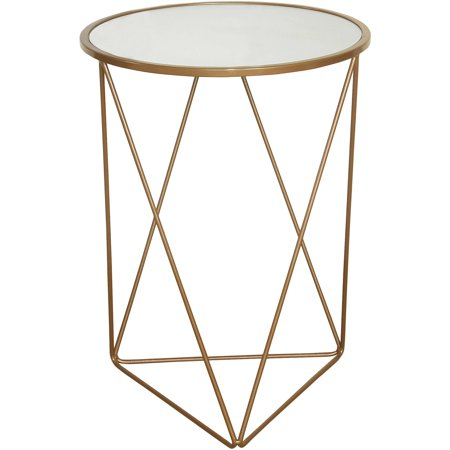 HomePop Metal Accent Table with Glass Top, Gold