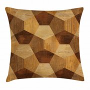 Retro Throw Pillow Cushion Cover, Abstract Parquet Flooring Wooden Rustic with Geometric Monochrome Pattern, Decorative Square Accent Pillow Case, 20 X 20 Inches, Brown Light Brown, by Ambesonne