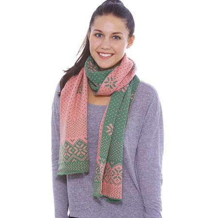 Women's Winter Knit Wrap Chunky Warm Crochet Snowflake Ski Scarf, Green