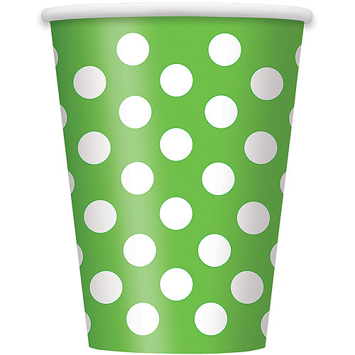 12 oz Lime Green Polka Dot Paper Cups, 6ct