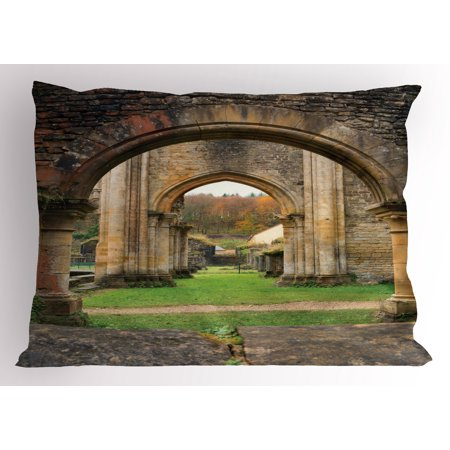 Antique Pillow Sham Autumn View on the Ancient Ruins of Famous Medieval Century in Belgium, Decorative Standard Queen Size Printed Pillowcase, 30 X 20 Inches, Sand Brown and Green, by Ambesonne