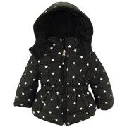 Pink Platinum Baby Girls' Silver Star Hooded Winter Puffer Jacket