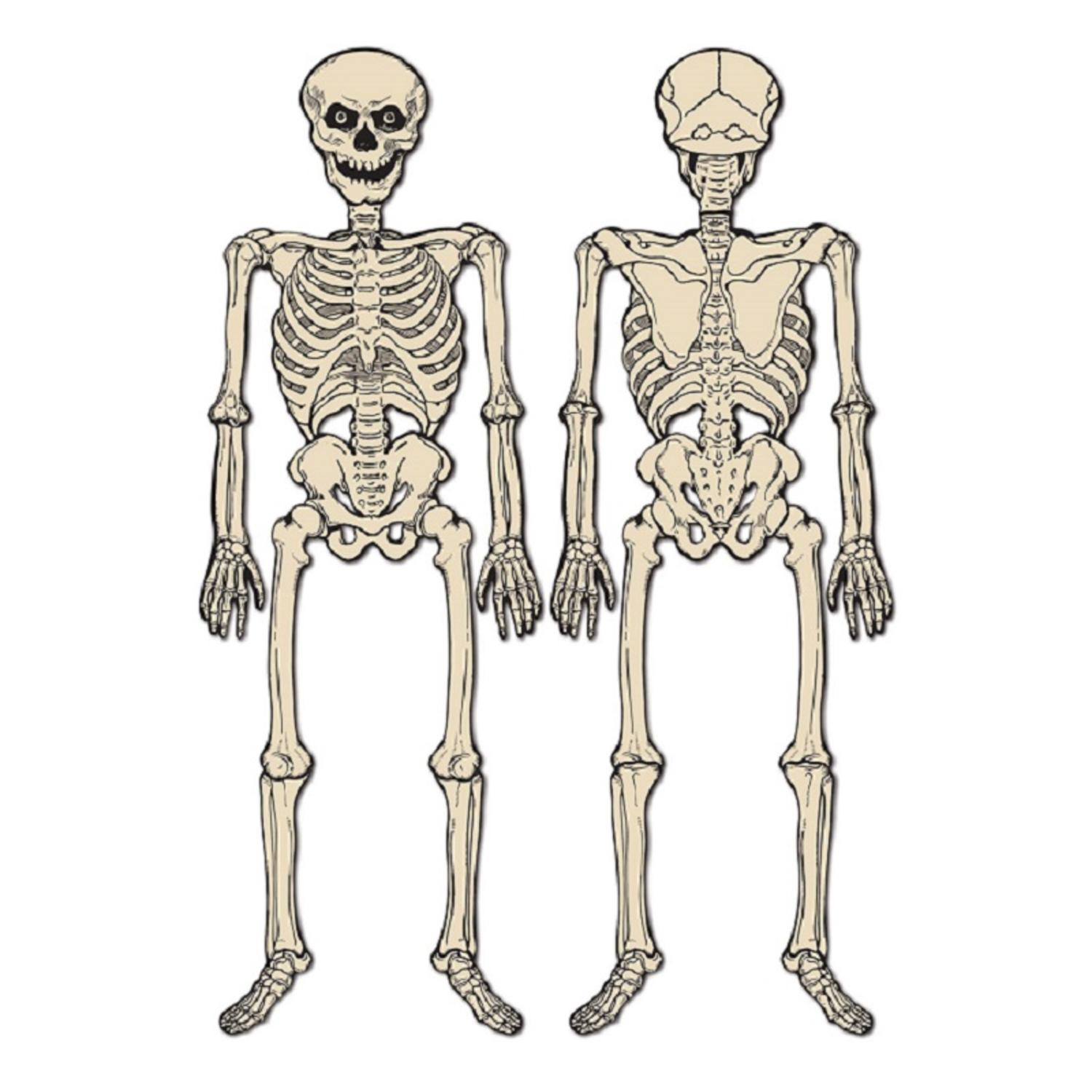 Club Pack of 12 Spooky Jointed Skeleton Halloween Decorations 4.25'