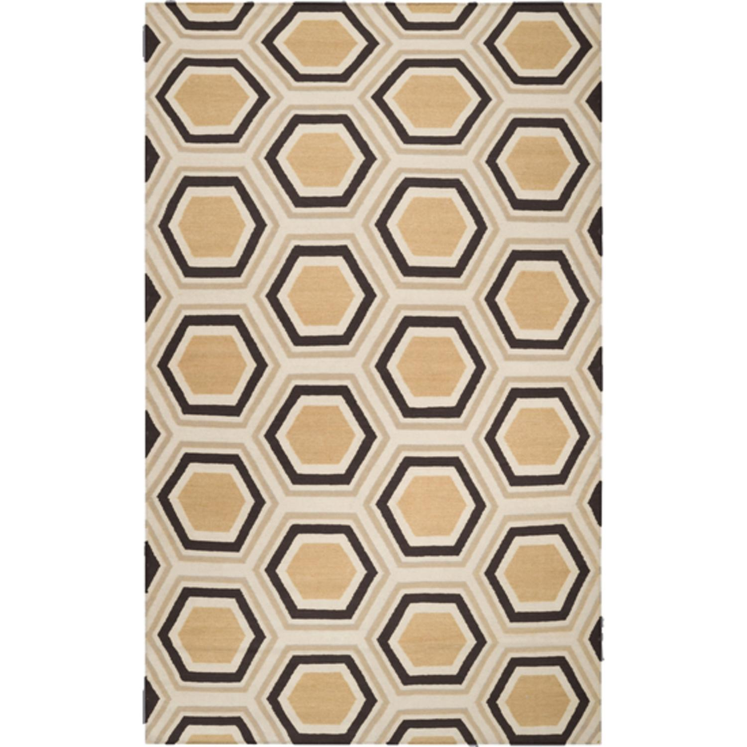 3.5' x 5.5' Retro Octagon Goldenrod and Coffee Brown Wool Area Throw Rug