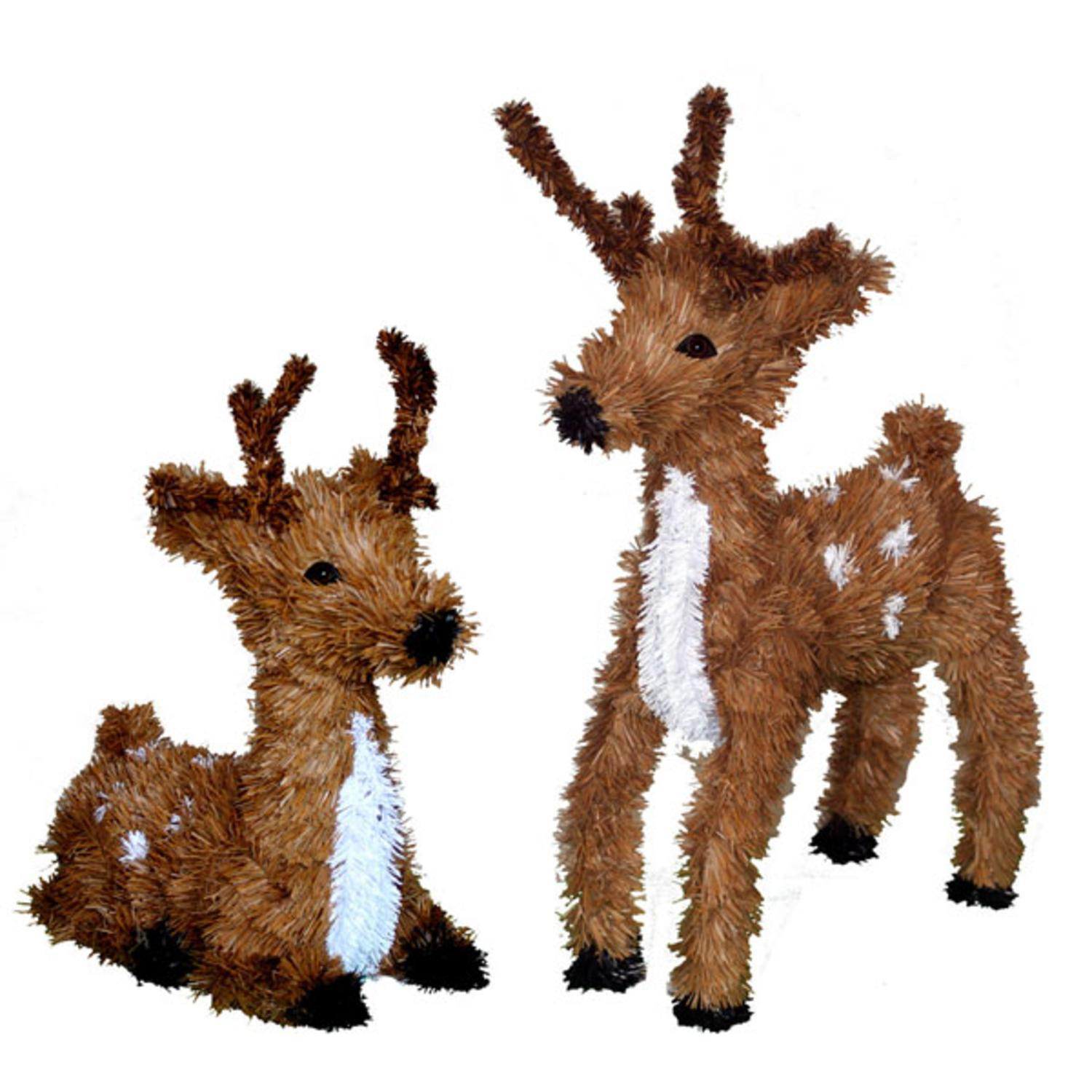 Set of 2 Sitting & Standing Reindeer Christmas Decorations ...