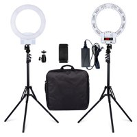 LED Ring Light and Stand, Dimmable LED Ring Light, 3-Light Colors LED Ring Light Kit w/ Tripod Stand, Cell Phone Holder and Carrying Bag for Makeup, YouTube, Self-Portrait Shooting, White, Q4135
