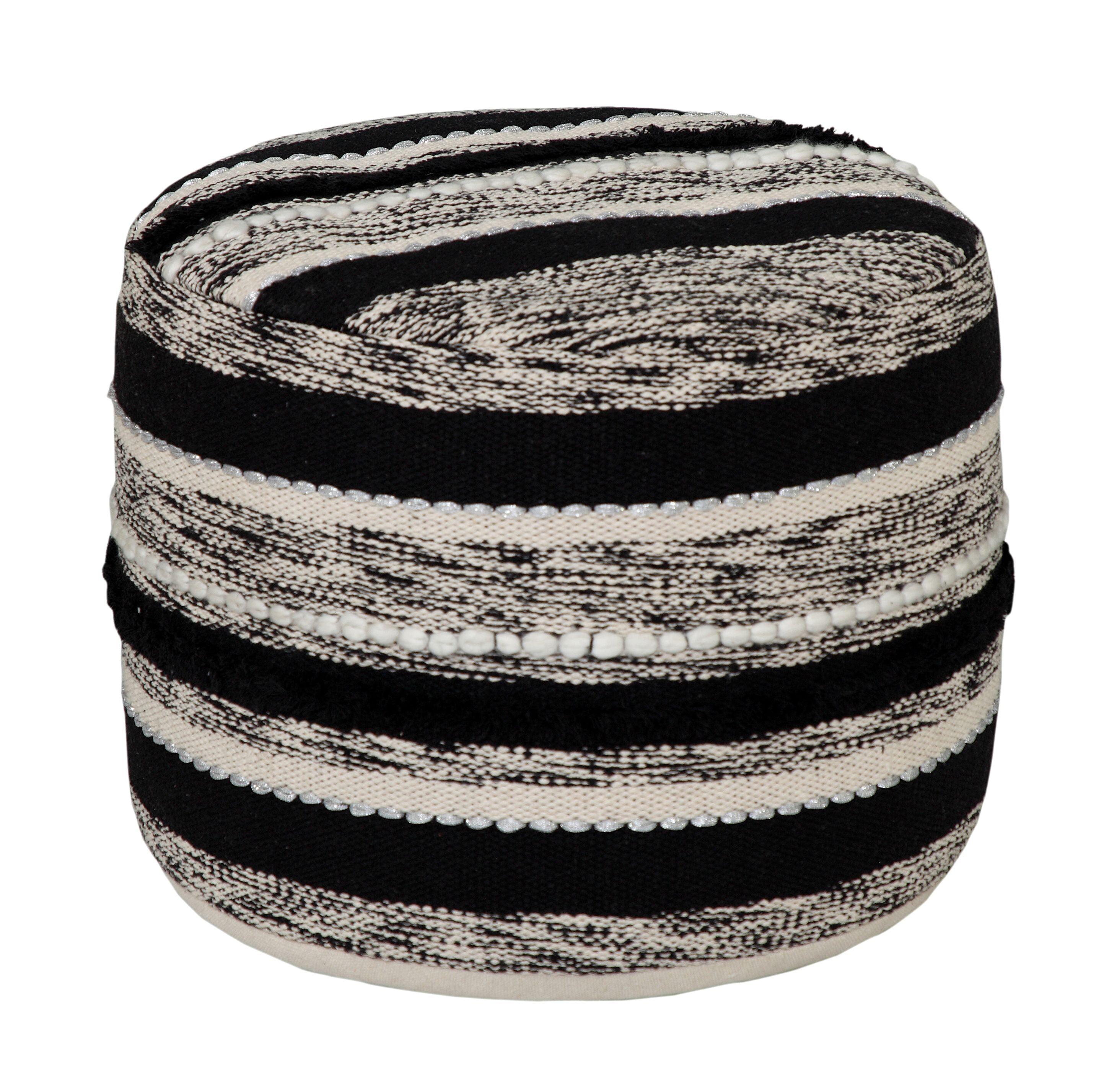 """LR Home Bubble Stripe Black & Natural Cotton Pouf Ottoman (18"""" x 14"""")"""