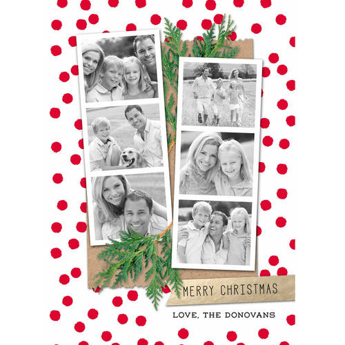 Merry Christmas Photo Strips - 5x7 Personalized Holiday Card