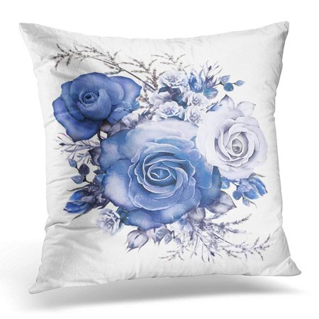 Blue Flowers Gray Leaves (CMFUN Gray Watercolor Flowers Floral Blue Rose Branch of White Leaf and Buds Cute Composition for Wedding Pillow Case Pillow Cover 18x18 inch)