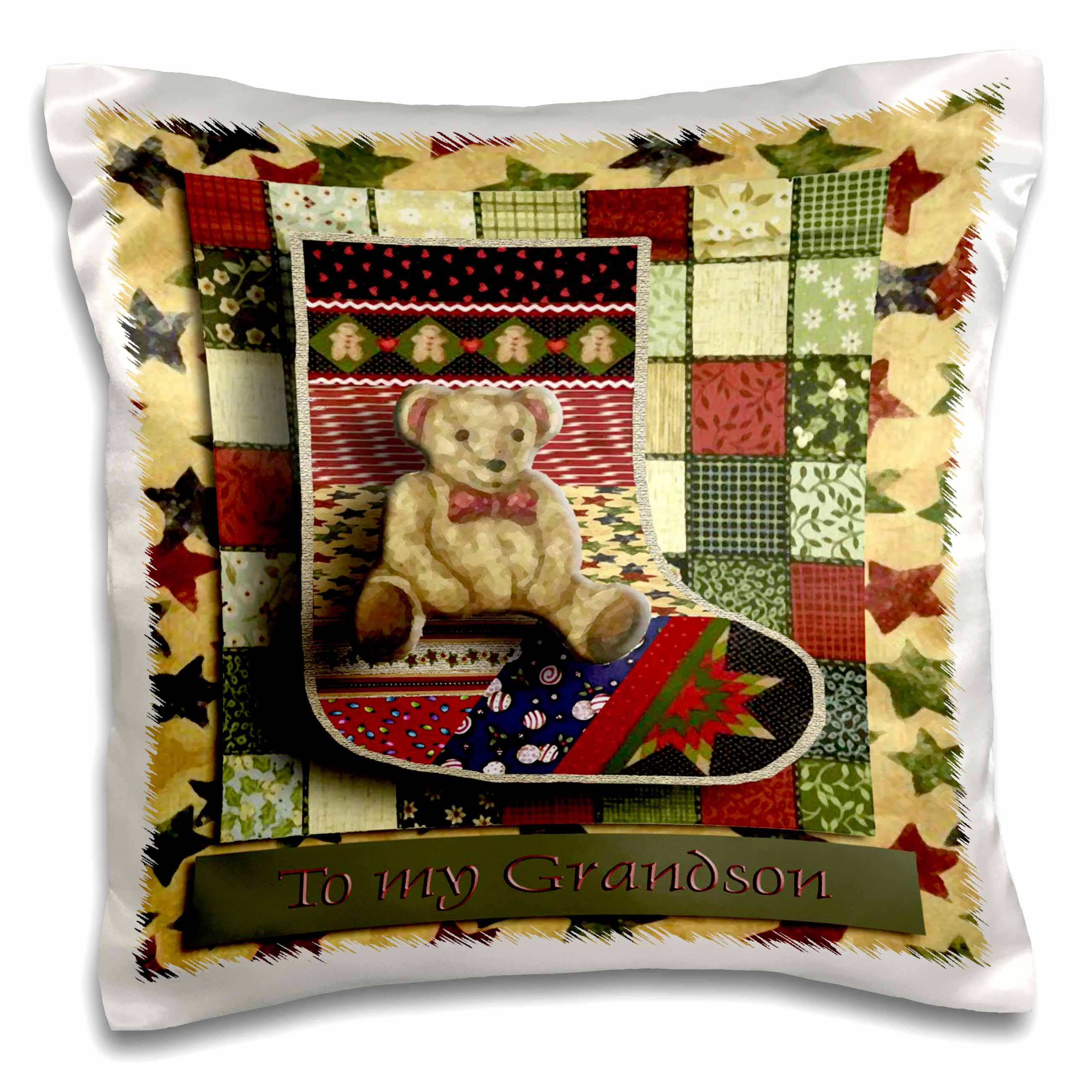 3dRose Teddy Bear Stocking to my Grandson Stars, Pillow Case, 16 by 16-inch by 3dRose