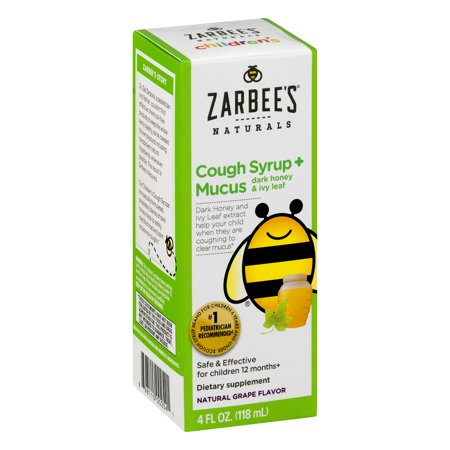 Childrens Cough - Zarbee's Children's Cough Syrup + Mucus with Dark Honey Natural Grape Flavor Dietary Supplement, 4 Oz