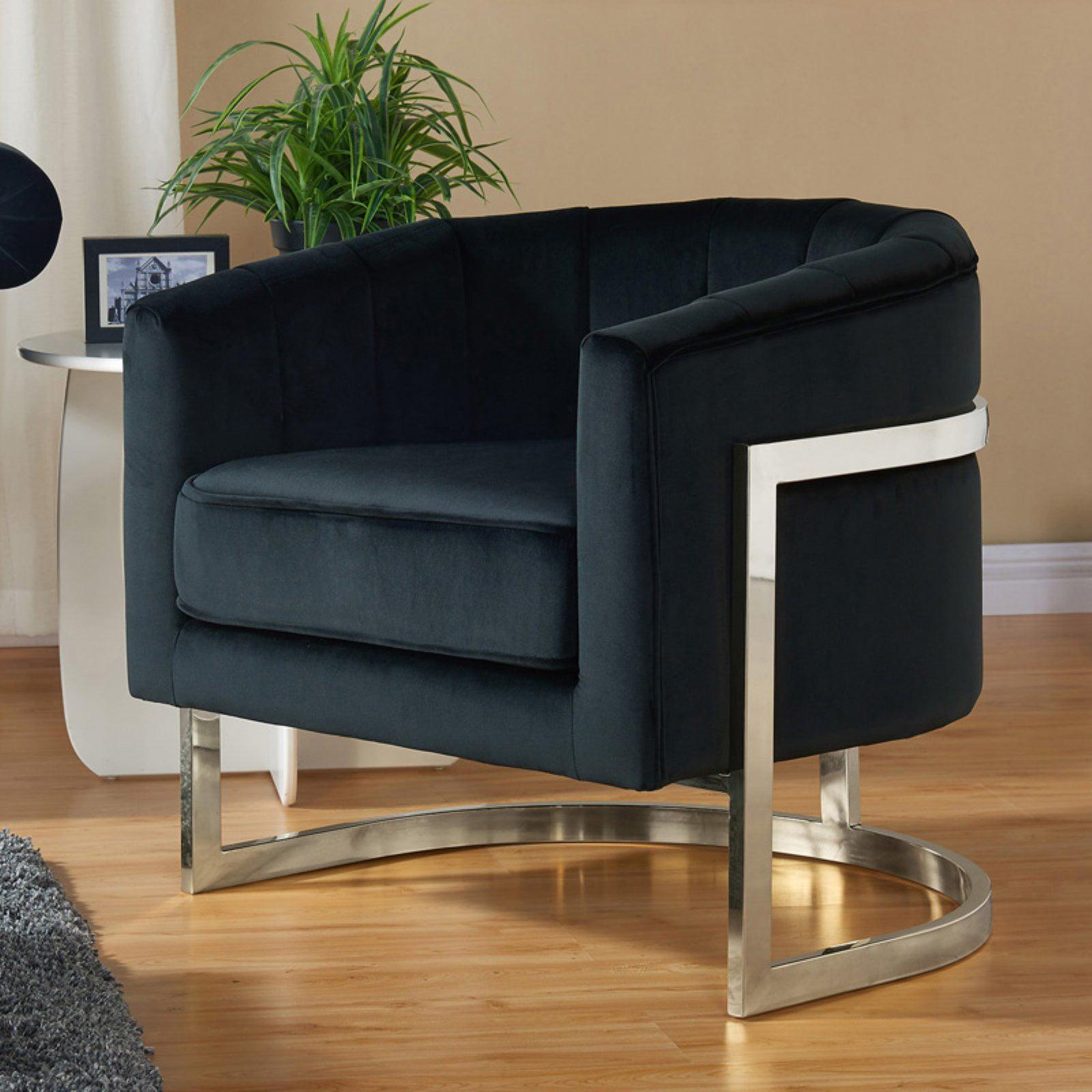 Nspire Velvet Chrome Accent Chair Walmart Com