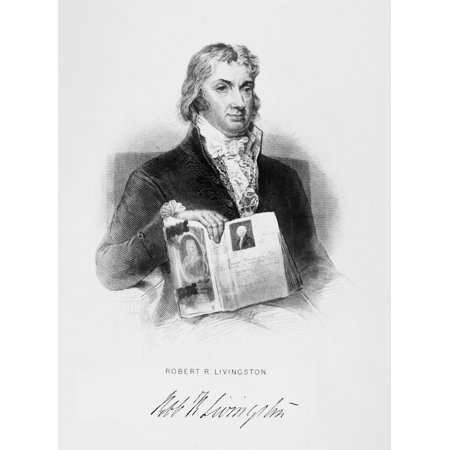 Robert R Livingston N 1746 1813  American Statesman And Financier Livingston Holding A Book With A Portrait Of George Washington Line Engraving American C1860 Rolled Canvas Art     18 X 24