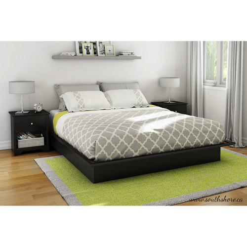 South Shore SoHo King Platform Bed with Molding, Black