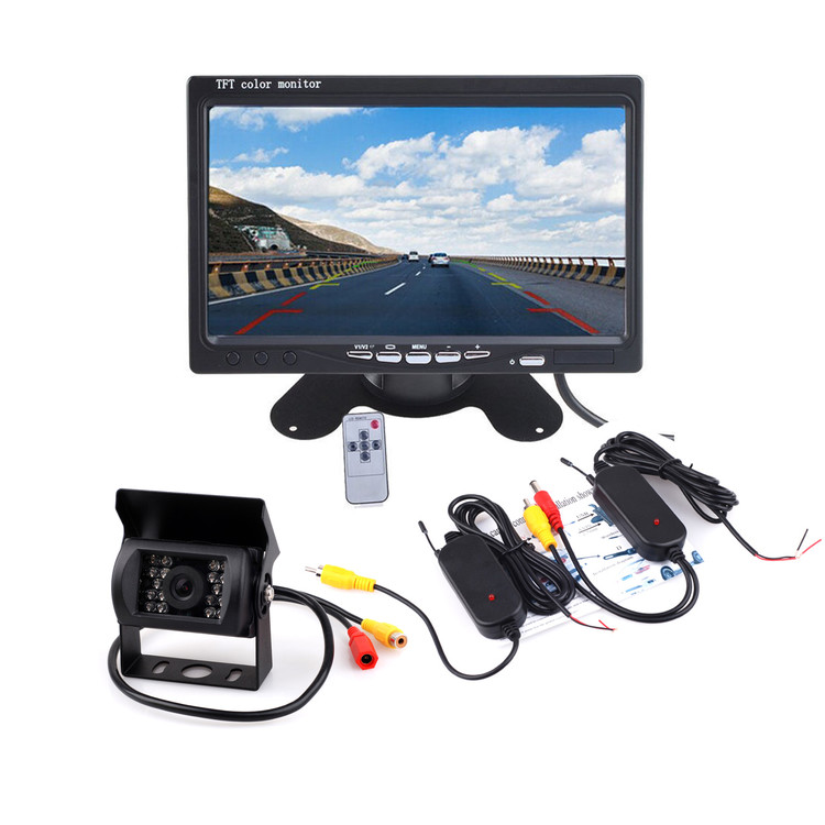"7"" Monitor + IR Rear View Backup Camera Night Vision System+ Wireless AV Cable Video Transmitter Receiver For Truck Car Auto Vehicle"