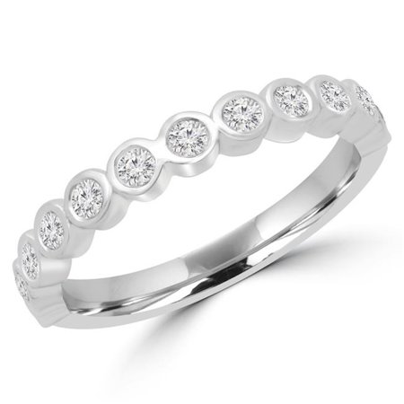 Majesty Diamonds MD180605-6.25 0.37 CTW Round Diamond Bezel Set Semi-Eternity Wedding Band Ring in 14K White Gold - Size 6.25 Bezel Set Diamond Band