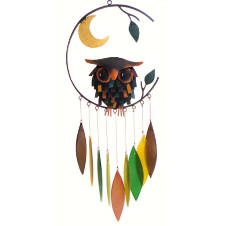 Owl Wind Chimes (Gift Essentials Spiky Owl with Moon Wind)