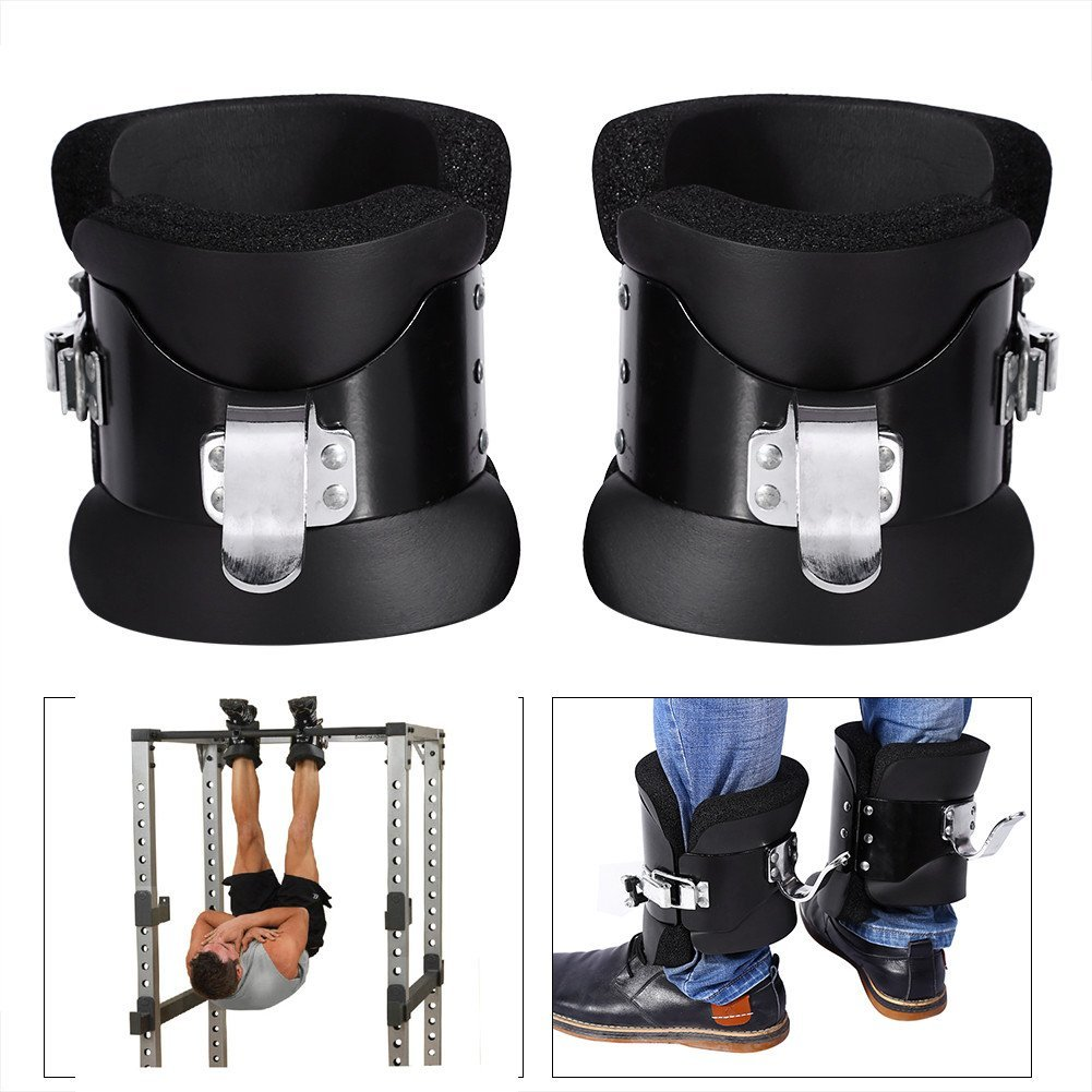 1 Pair Black Anti Gravity Inversion Hang Up Boots Therapy Gym Fitness Physio Hang Spine Posture Relief Exercise Recovery With Contoured Pads