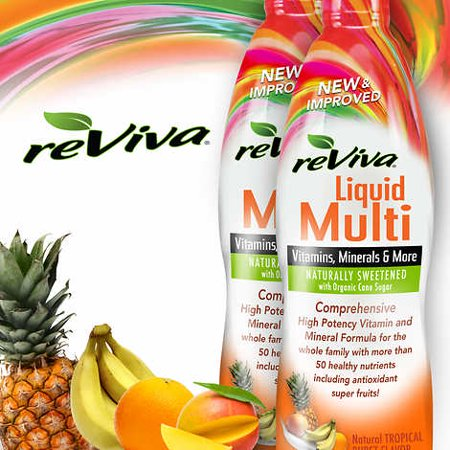 reViva Liquid Multivitamin, 64 Ounces, Tropical Burst  2 Bottles, 32 Ounces - Flora Liquid Vitamins