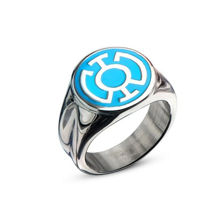 DC Comics Blue Lantern Corps Hope Stainless Steel Ring | - All Lantern Rings