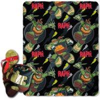 Nickelodeons Teenage Mutant Ninja Turtles, Raph Strikes Hugger Character Shaped Pillow and 40x 50 Fleece Throw Set